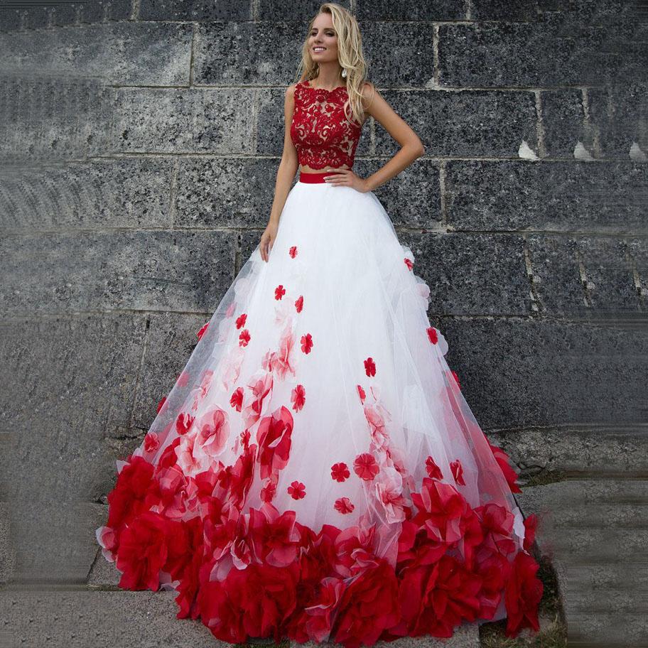 Two Pieces Wedding Dresses with Red Flowers Custom Made Ball Gown Saudi Arabia Bridal Gowns Vestido de Novia