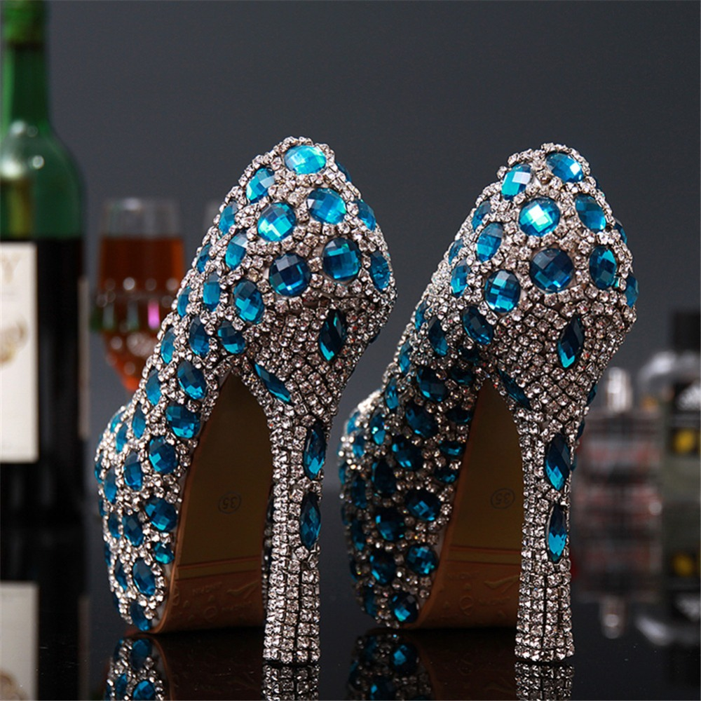 0663d624216c51 Vintage Wedding Shoes Royal Blue Swarovski Crystal Bling Bling Rhinestones  Womens Girls Sexy Party High Heels Shoes Bride-in Women s Pumps from Shoes  on ...