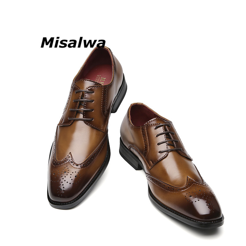 Misalwa 2019 Brogue Oxford Handcrafted Men's Genuine Leather Formal Shoes Black Burgundy Stylish Dress Shoes For Men Dropshippig