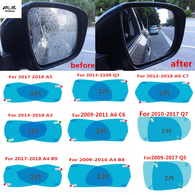 2pcs/lot car rearview mirror Rainproof film for AUDI Q3 Q5 Q7 A3 A5 A4 B8  B9 A6 C6 C7 Car accessories