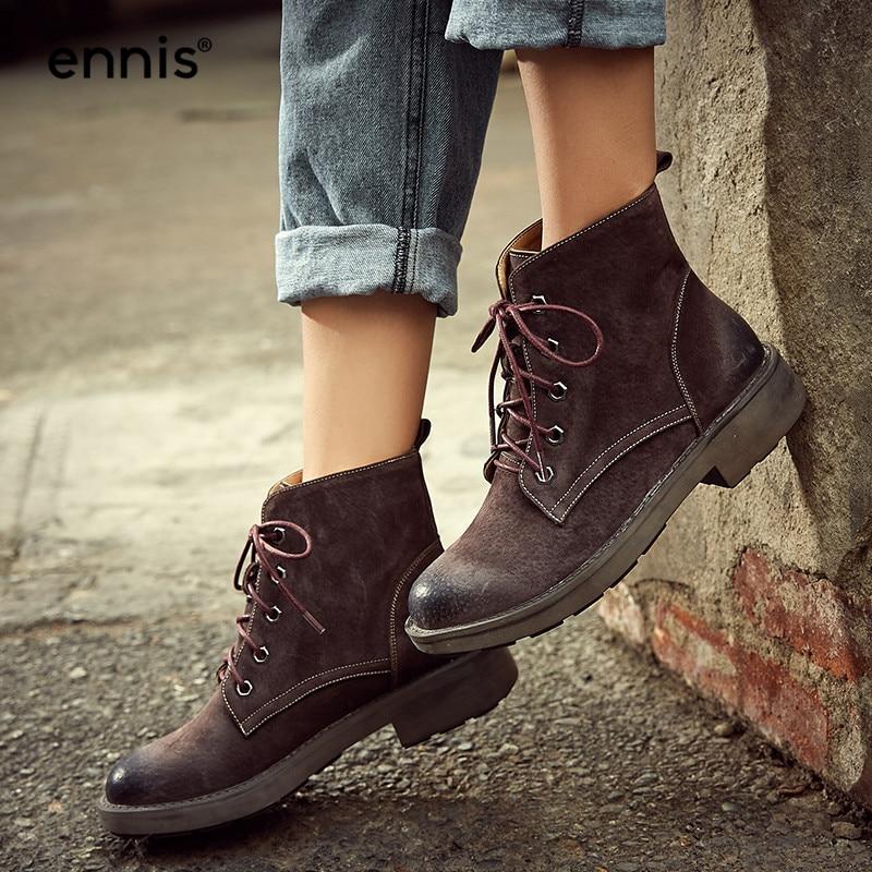 Bottines rétro en peau de porc de marque ENNIS en cuir véritable bottes à lacets Martin de haute qualité pour femmes bottes d'escalade printemps nouvelles chaussures A7289-in Bottines from Chaussures    3