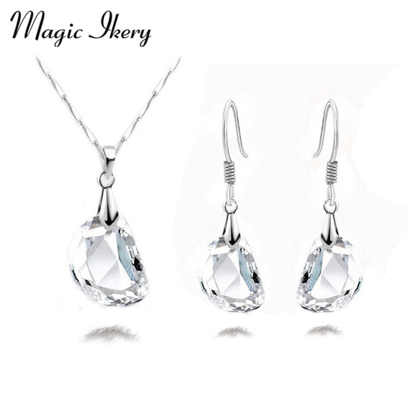 Magic Ikery 2016 New Arrival Gold & Silver Color Crystal Fashion Costume Jewelry Sets for Women Necklace Earrings Sets G172