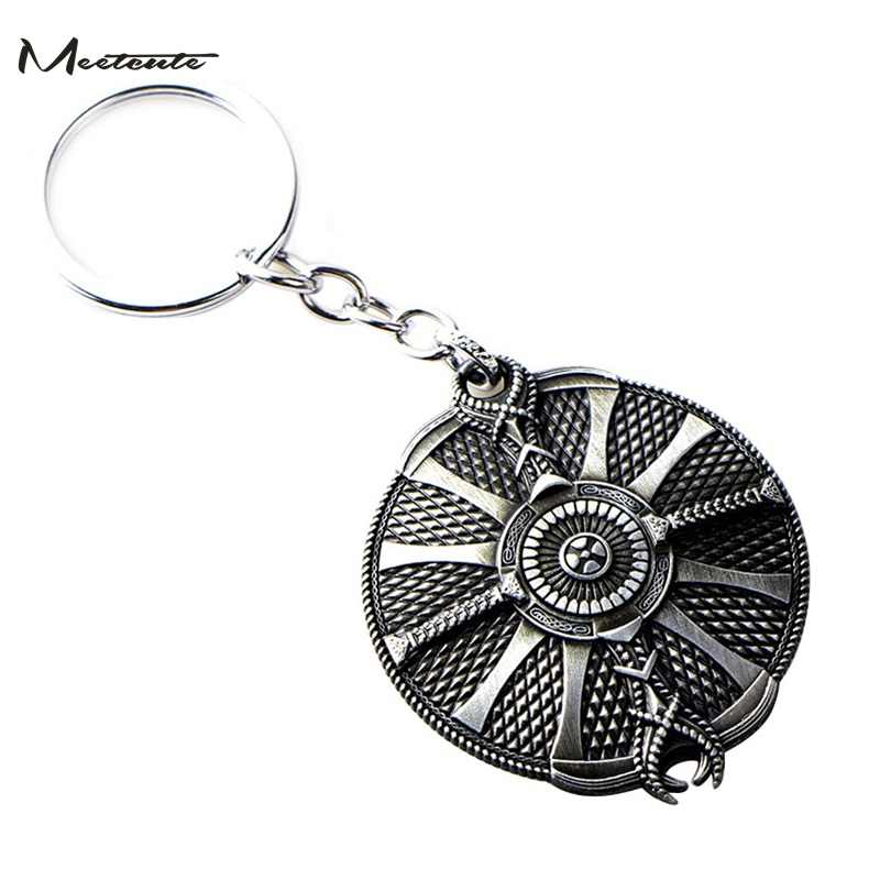 Meetcute God Of War 4 Leviathan Key Chain Metal Keyrings Kratos Guardian Shield Ice Axe Llaveros Car Keychain Game Jewelry