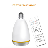 Quran RGB LED Light Bulb Wireless Bluetooth Speaker Remote Control E27 LED Lamp Hajj Muslim Koran Reciter FM Radio TF MP3 Player