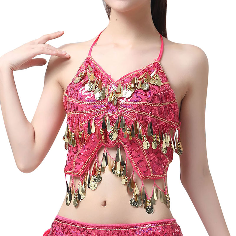 Mini Sexy Women V-Neck Belly Dance Costume Belly Dance Hanging Neck Sequins Tassel Dance Tops New