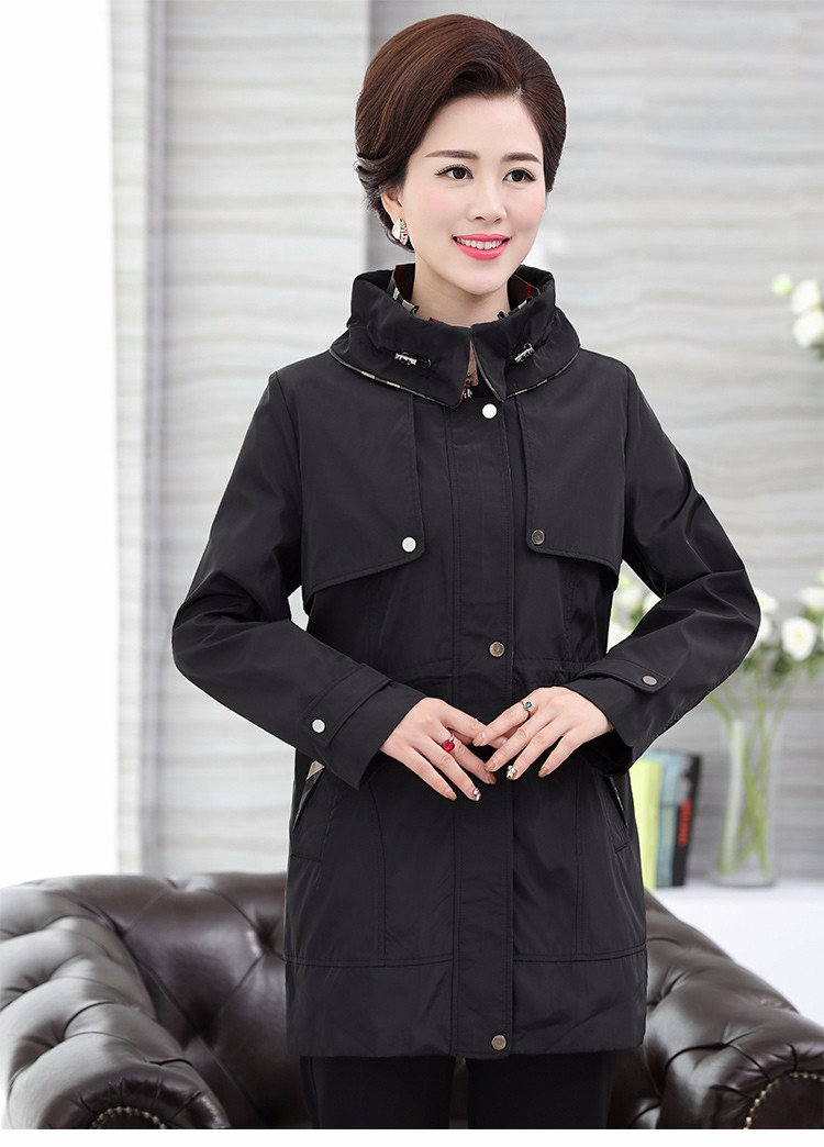 British Style Woman Beige Trench Coat Red Black Overcoat Middle Aged Women\'s Casual Trench Lady Casual Duster Coats 40s 50s 60s Windbreakers (20)