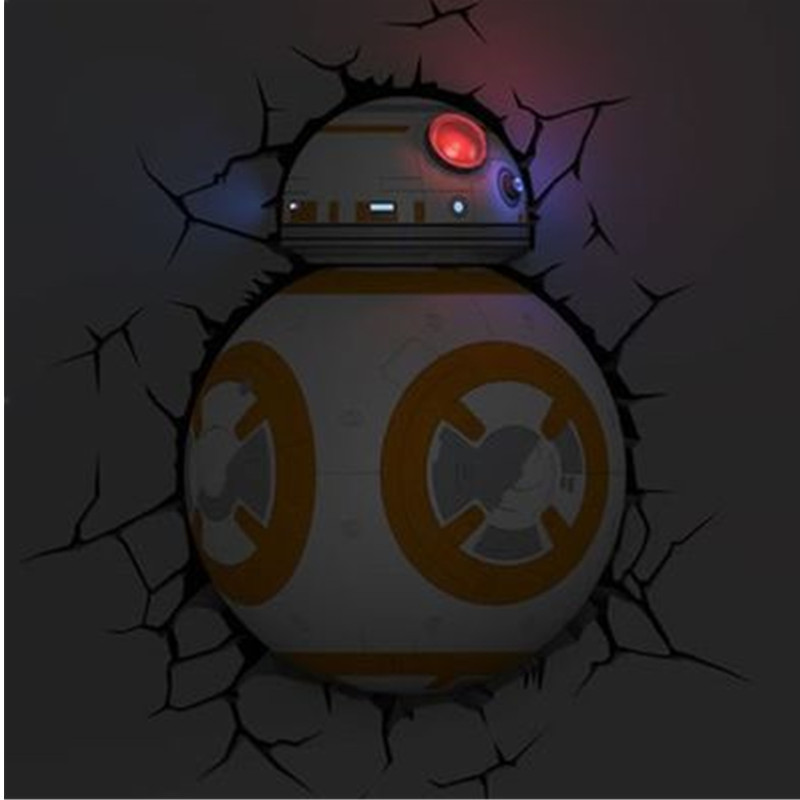 все цены на Star Wars: The Force Awakens BB-8 Robot With LED Light 3D Creative Living Room Decoration Wall Sticker Wall Lamp S582