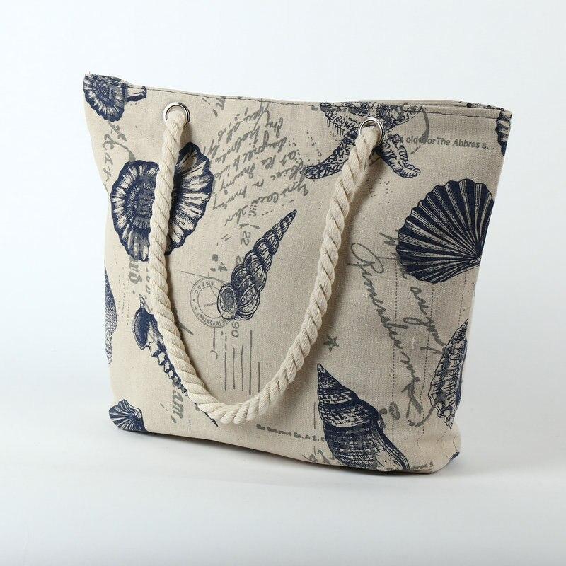 Rdywbu 2018 Paris Tower Shell Printing Canvas Beach Shoulder Bag Women's Creative Rope Shopping Bag Big Summer Tote Handbag B103 3