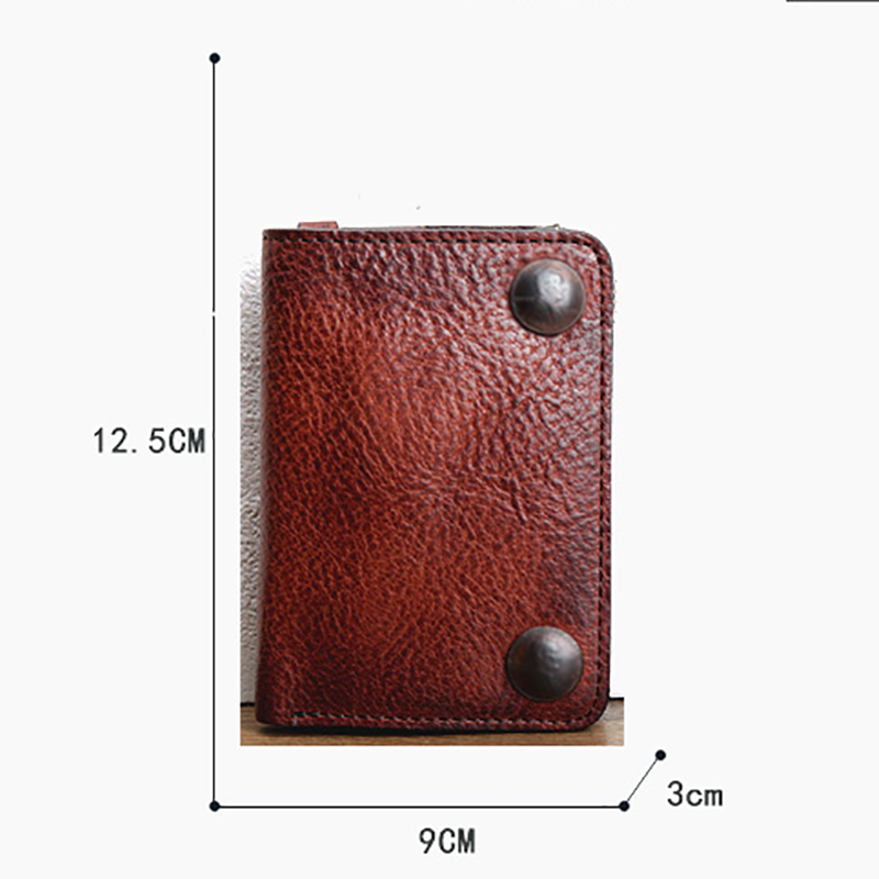 AETOO Retro handmade leather wallet young men multifunctional money clip can put driver's license casual short wallet