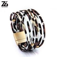 ZG Leopard Leather Bracelets For Women & Bangles 2019 Fashion Elegant Boho Multilayer Wrap Wide Bracelet Jewelry