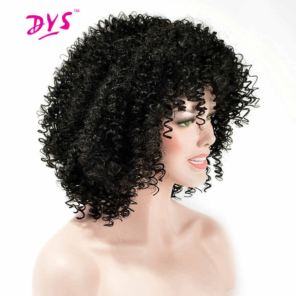 Deyngs Afro Kinky Curly Short Synthetic Wigs With Bangs For Black