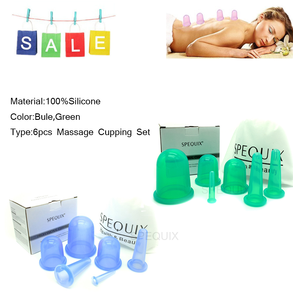 SPEQUIX Professional Health Care Products Full Body Anti Cellulite 100% Silicone Vacuum Eye Face Back Cupping Cups 6PCS 2 Colors 1pcs silicone health care face eye anti age cupping cups facial lifting massage silicone cupping cups health care