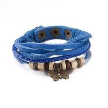 2016 New Fashion Style Butterfly Blue Bracelet Leather Braided Chain Cuff Bracelet Wristband Wrap Bracelet For Couples Jewelry