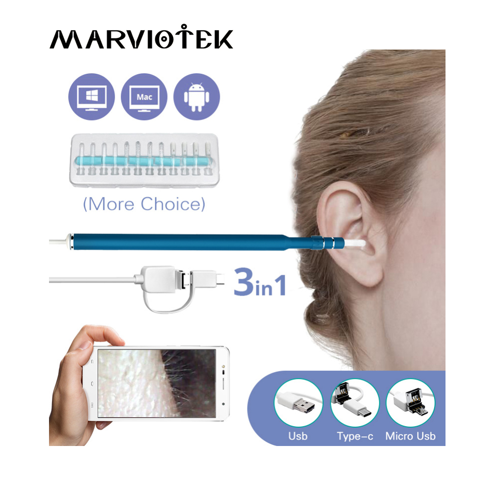 3 In 1 USB Endoscope HD Visual Ears Cleaning Earpick Spoon with 6 LED Light Ear Cleaning Tool Ear Massage for Android PC 3 in 1 sucker filter mixing spoon with cleaning brush