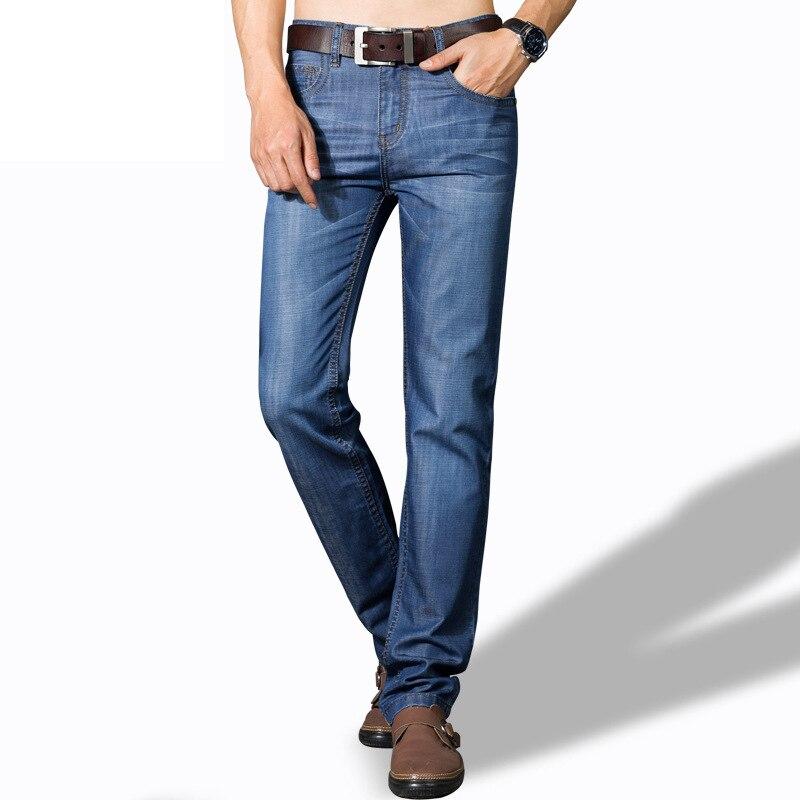 Jeans Men Male Denim Pants Men Summer Blue Cotton Pants Lightweight Casual Business Jeans Plus Size Full Length Straight