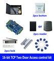 Комплект контроля доступа, TCP две двери контроля доступа + powercase + 180 кг магнитный замок + zl-кронштейн + ID ридер + кнопка + 10 Идентификационные би...