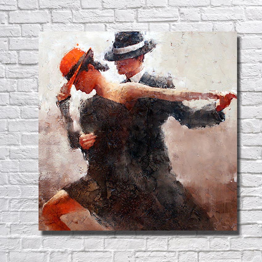 Large Beautiful Hand painted Abstract Dance Oil Painting on Canvas Painting Modern Living Room Wall Decor