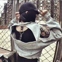 European And American Fashion Punk Gothic Locomotive Wind Leisure Hollow Vintage Do The Old Denim Jacket