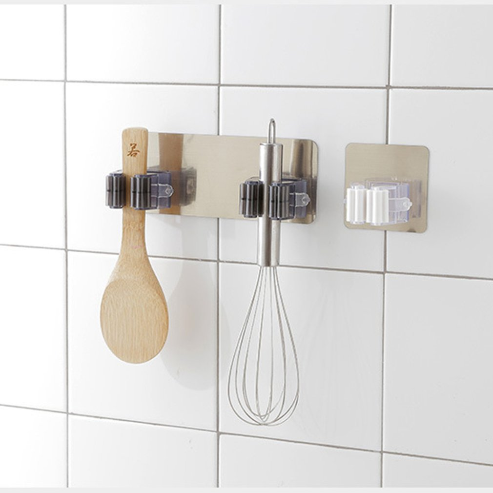 Image 3 - Mop Holder Broom Clip Seamless Hook Punch Free Bathroom Kitchen Wall Hanging Mop Clip Hook Hanging Deck Mop Clip-in Racks & Holders from Home & Garden