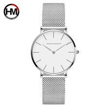 Top Luxury Brand Ladies Watch High Quality Stainless Steel Silver Mesh Band Japan Quartz Movement Waterproof Women Dress Watches hannah martin luxury brand waterproof watch men s casual business stainless steel mesh band japan movement quartz watch fashion