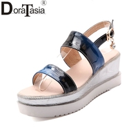 DoraTasia 2018 Summer Big Size Youthful Sandals Women Thick Platform Big Size 33 43 Comfortable Wedges