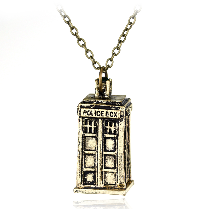 dongsheng TV Jewelry Doctor Who Necklaces Tardis Police Box Vintage Chain Pendants For Men And Women Jewellery Accessories
