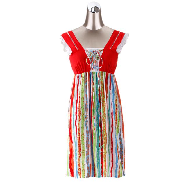 Cor de algodão da listra Night Dress vestido de camisola de algodão para as mulheres verão Sleepwear