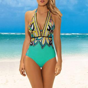 Women Vintage Print Bathing Suit Plus Size Swimwear One Piece Swimsuit