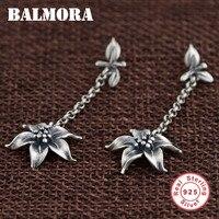 BALMORA Retro Flower Earrings Authentic 925 Sterling Silver Dangle Drop Earrings For Women Lover Gift Jewelry