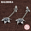 BALMORA Retro Flower Earrings Authentic 925 Sterling Silver Dangle Drop Earrings For Women Lover Gift Jewelry