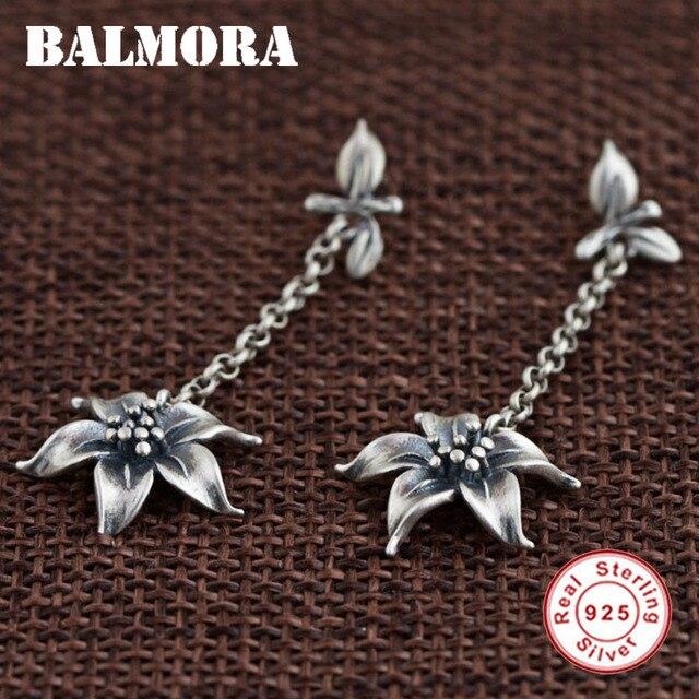 Balmora настоящие серьги из стерлингового серебра 925 пробы в стиле ретро с цветком Висячие серьги для женщин подарок для влюбленных тайские сер...