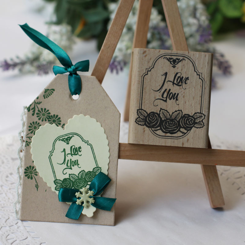 High quality i love you diy postcard or bookmark scrapbooking stamp,beatiful wooden rubber stamps free shipping i found you