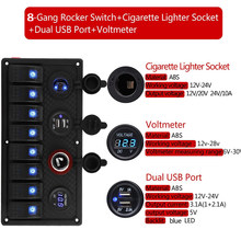5 V 3.1A coche barco interruptor Panel Dual USB encendedor enchufe 12 V LED voltímetro cargador coche Switche Panel(China)
