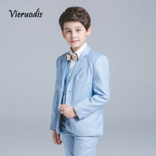 Boys Blue Wedding Suit Slim Fit Suit Boys Prom Suit Blue Page Boy Suit 3 Piece sanmen page 3