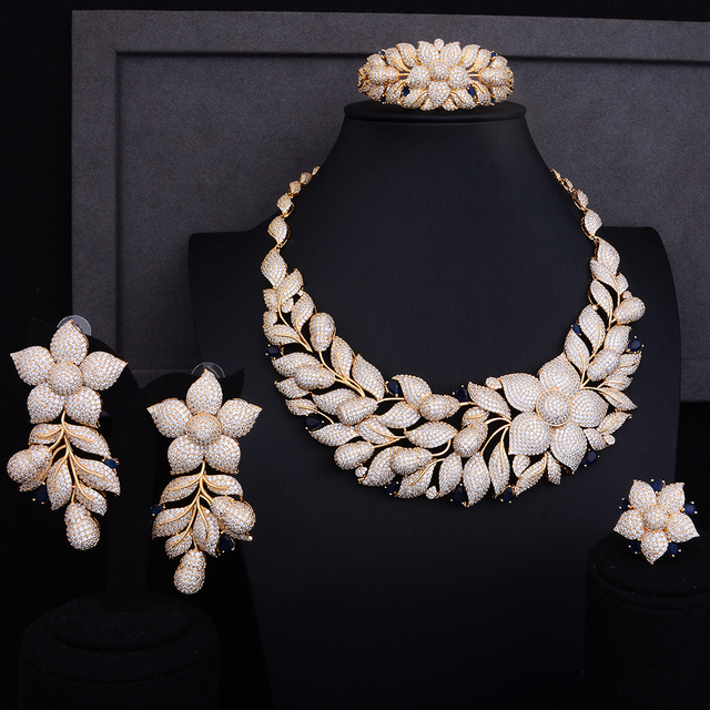 Luxury Rose Flower Cluster Floral 2 Tone Wedding Jewelry Set 5