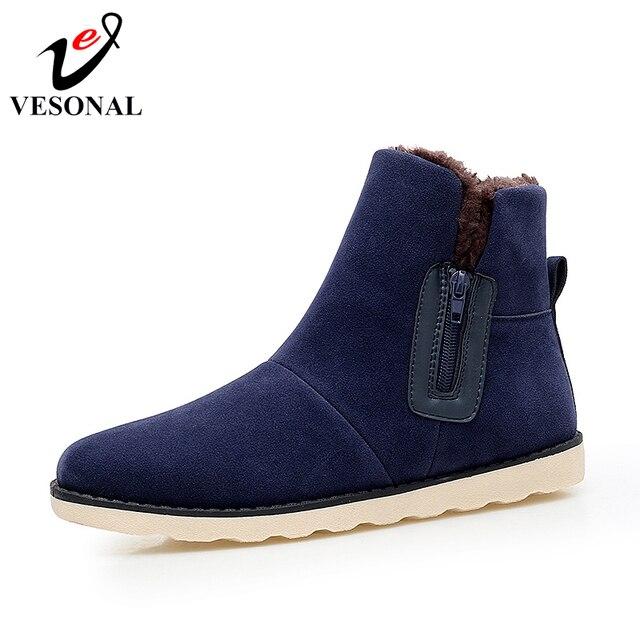 VESONAL 2018 nueva moda rebaño Hombre Zapatos para hombres adultos invierno  con nieve de piel botas 0d13b0a910c