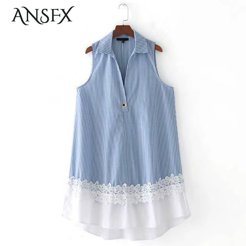 ANSFX Fashion Turn-down Collar Contrast Color Blue White Striped Crochet Lace Patchwork Sweet Women Loose Straight Mini Dress