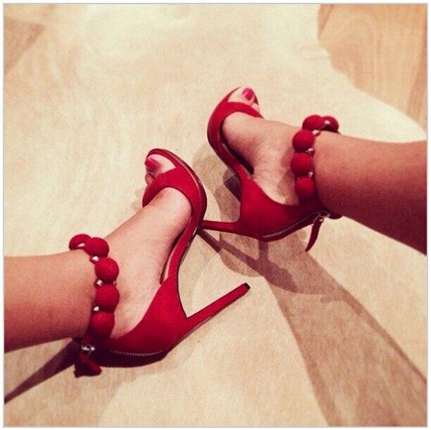 Showed À Ouvert Sandales Hauts Style Daim Chaussures Cloutées Bouton Femmes Belle Talons bar Color T En Color D'été As as Bout Sangles Pom Sexy Partie FPwnO1Zq