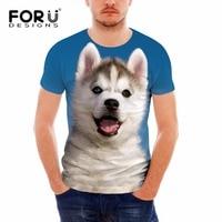 44d1646cc1 FORUDESIGNS Funny 3D T Shirt For Men Brand Designer Animal Husky Print Male  Top Tees Summer
