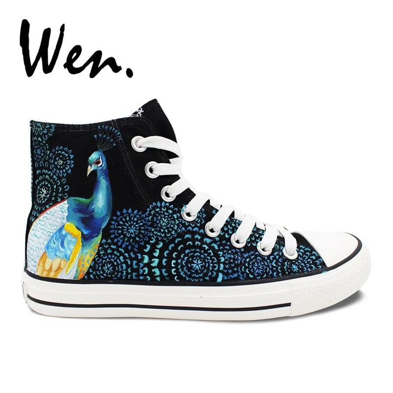 Wen Original peint à la main chaussures Design personnalisé plume de paon hommes femmes haut toile baskets cadeaux d'anniversaire