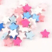 19mm 20 pces cor misturada estrela de madeira natural contas de madeira para crianças jóias que fazem mt2018x