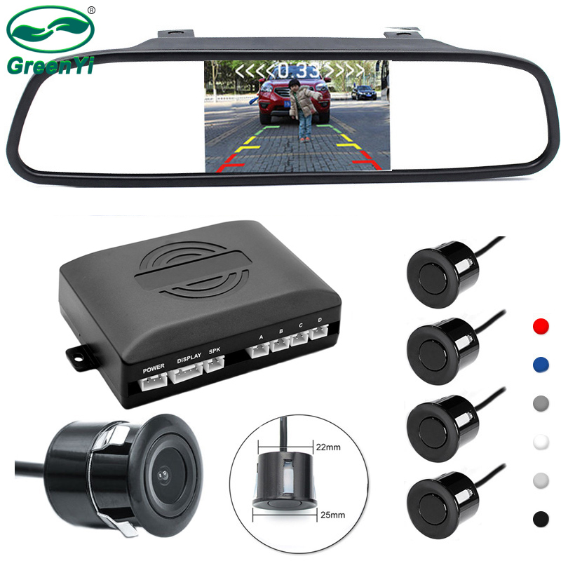 GreenYi 3IN1 5 Inch HD Car Rear View TFT LCD Mirror Monitor + Rearview Reverse Backup Camera + Video Parking Radar Sensor System