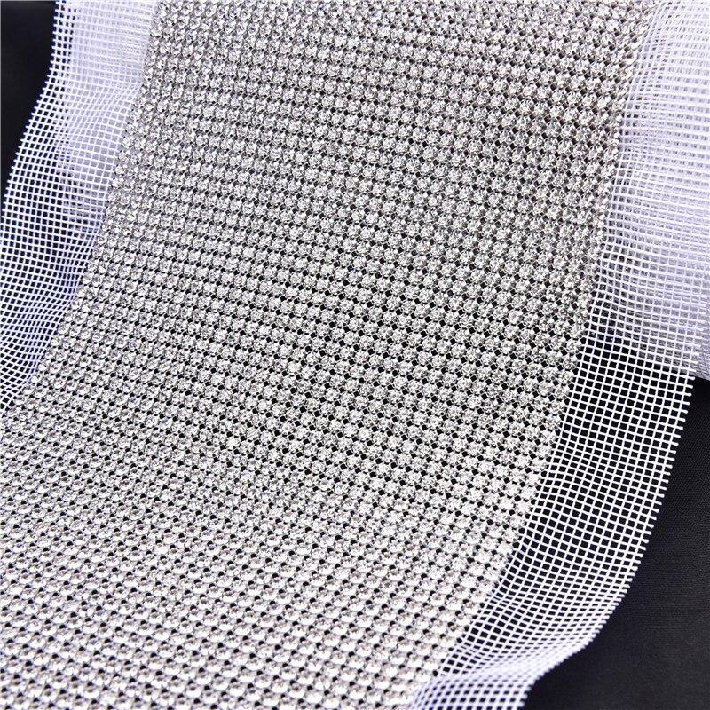 SS12 36 rangées cristal clair strass maille coupe coudre sur griffe pierre chaîne 1 Yards argent base blanc tissu bricolage couture dentelle