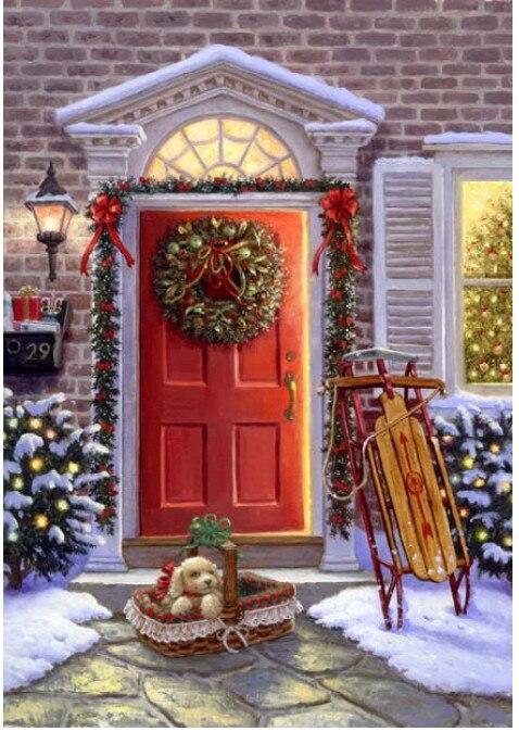 Neue Weihnachten Snowy Landschaft Für Stickerei handarbeiten Handwerk 14CT Unbedruckten Kreuzstich Kits Art DMC DIY Qualität Handgefertigten Dekor