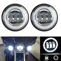 FADUIES 4 1/2 4.5 Inç 30 W LED Yardımcı Geçiş Spot Işıkları Beyaz halo Için Harley Motosiklet Sis Aydınlatma krom/siyah