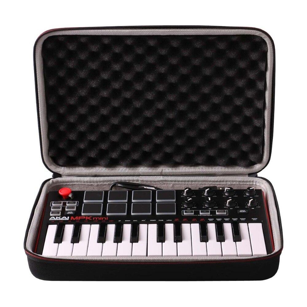 LTGEM Travel Hard Carrying Case For Akai Professional MPK Mini MKII & MPK Mini Play | 25-Key Ultra-Portable USB MIDI Drum Pad &