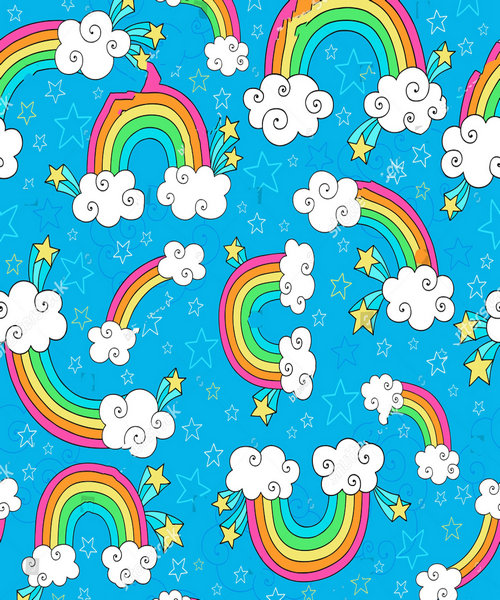 rainbow cloud Sky star blue backdrops polyester or Vinyl cloth High quality Computer print wall Backgrounds
