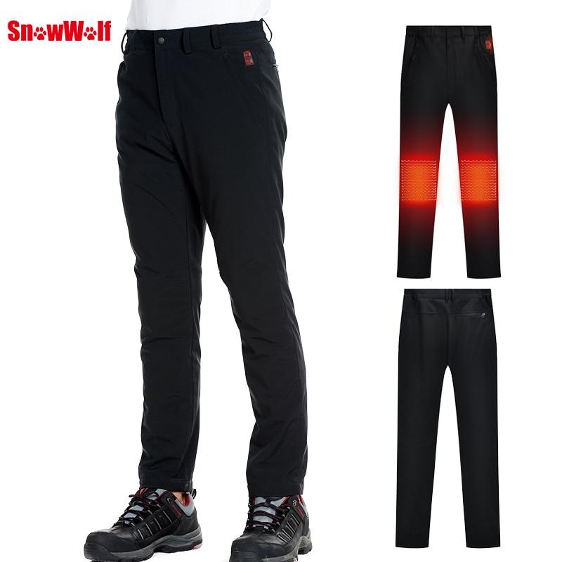 SNOWWOLF 2019 Hommes Sports de Plein Air Pantalon USB Infraded Chauffage Softshell Pantalon Hiver thermique Pantalon avec Chauffée Semelles