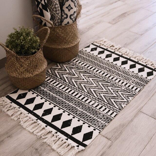 America Rustic Style Door Mats With Tassels Geometric Prints Kicthen Floor  Mats/Rugs Soft Sofa