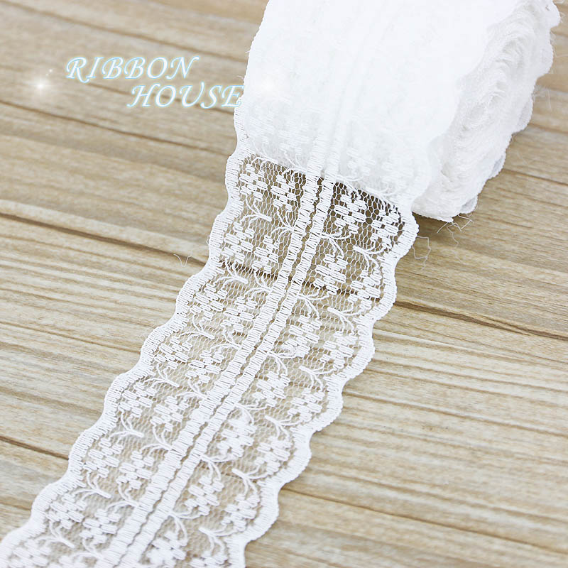 (5 Yards/roll) 45mm White Lace Fabric Webbing Decoration Lovely Gift Packing Material
